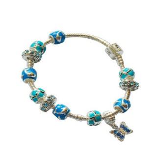 Encantos Pandora DIY Pulseira Azul Prata