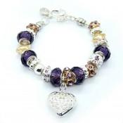 Encantos Pandora Prata Coração de Cristal Roxo DIY Pulseira