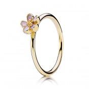 PANDORA 14K flor de cerejeira com Rosa esmalte empilhável Aneis
