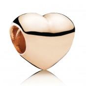PANDORA Rose Dourado grandes coração liso Charms