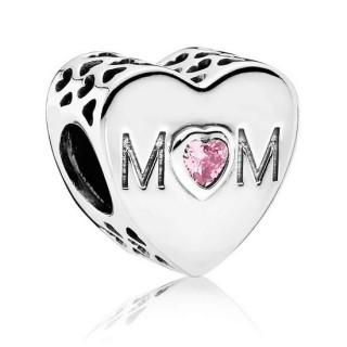 PANDORA com Rosa CZ Heart Mother Charms