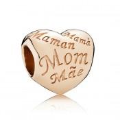 PANDORA do coração Rose Dourado mãe Charms