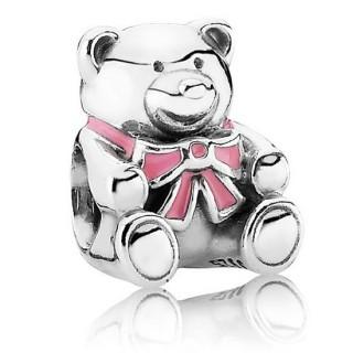 PANDORA É um encanto da menina - Charms Bear in Sterling Prata com Rosa Enamel