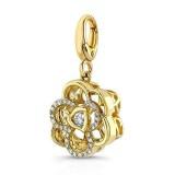 Pandora 14K Dourado Flor-de forma tridimensional filigrana Charms