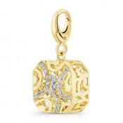 Pandora 14K Dourado forma de almofada filigrana Three-Dimensional Charms