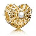 Pandora 14kt Dourado & Perl Vintage do coração Charms