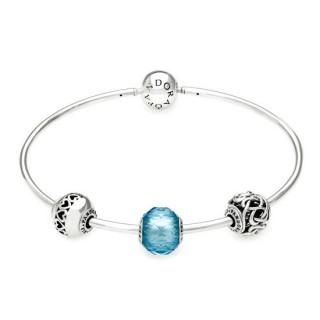 Pandora Azul Essência Amor & Amizade Prata Bangle