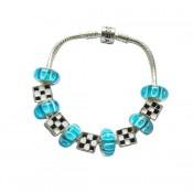 Pandora DIY Pulseira Azul Vidro Contas e Prata Charms