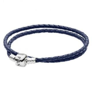 Pandora Duplo Escuro Azul tecido de couro Pulseira