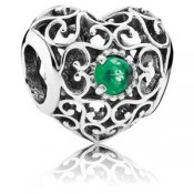 Pandora Maio Assinatura Coração Charms Royal-Verde Crystal - Sterling Prata Maio Assinatura do encanto do coração com Royal-Verde Cristal