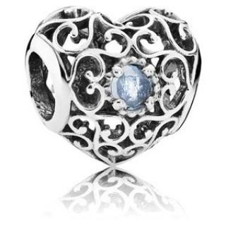 Pandora Março Assinatura Coração Charms Aqua Azul Crystal - Sterling Prata de Março de Charme Assinatura Coração com Aqua Azul Cristal