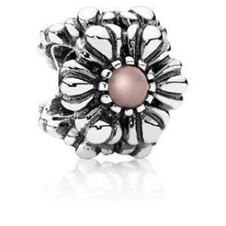 Pandora Outubro Flores de aniversário Charms - Rosa Opal - Exibir Sterling Prata Aniversário de outubro Flores Contas com Rosa Opal