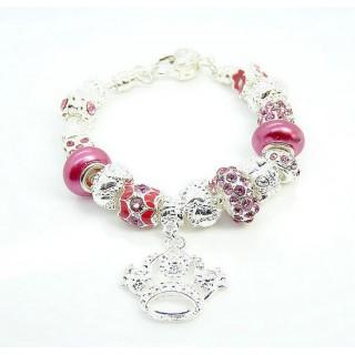 Pandora Prata Crystal Crown DIY Pulseira Rose