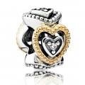 Pandora Prata ct 14 Dourado Celebração do amor Spacer Charms
