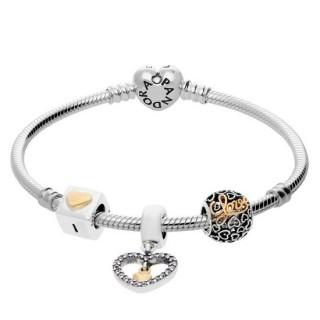 Pandora Pulseira Com Coração Dourado Charms