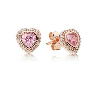 Pandora Rosa Rosa Sparkling Amor Stud Brincos