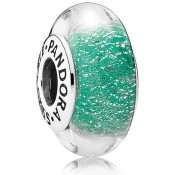 Pandora Sterling Prata DISNEY de Ariel Murano Vidro Verde Contas
