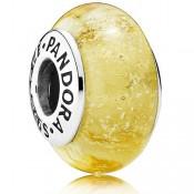 Pandora Sterling Prata DISNEY de Belle Murano Vidro Amarelo Contas