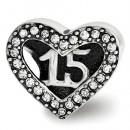 Pandora Sterling Prata Swarovski Quinceanera do coração Charms Contas