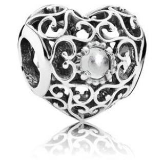 Pandora abril Assinatura Charms Coração Rock Crystal - Sterling Prata abril encanto Assinatura Coração com Limpar Rock Crystal