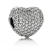 Pandora abrir meu coração Pave clip Charms
