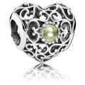 Pandora agosto Assinatura Coração Charms Peridot - Sterling Prata agosto Assinatura do encanto do coração com Peridot