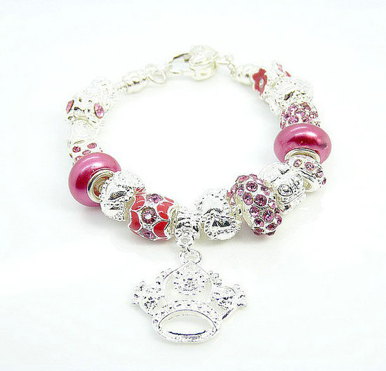 Pandora Prata Crystal Crown DIY Pulseira Rose