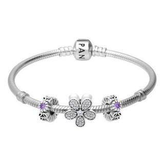 Encantos Pandora Pulseira Com Flower Power