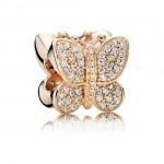 PANDORA Borboleta Sparkling Rose Dourado com Charms Limpar CZ Pavé