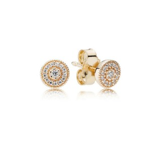 PANDORA Brincos Studs Radiant Elegance em 14K Dourado com Clear Zirconia Cubic