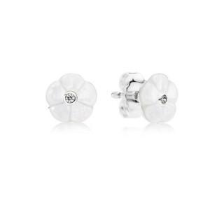PANDORA Brincos Studs luminosos Floral com Mãe-de-Pérola e claro Zircônia cúbica