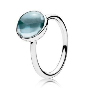 PANDORA Poetic Gota Aneis com Aqua Azul Cristal