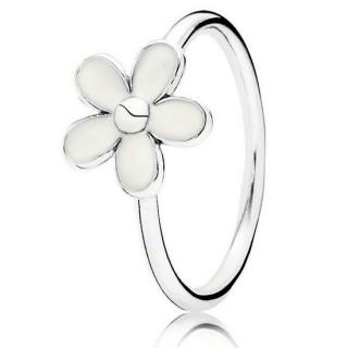 PANDORA Querida Margarida com Branco esmalte empilháveis Aneis