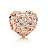 PANDORA Rose Dourado Amor & apreciação com Charms Limpar CZ