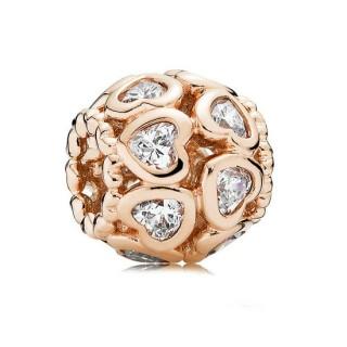 PANDORA Rose Dourado ama tudo ao redor com Charms Limpar CZ