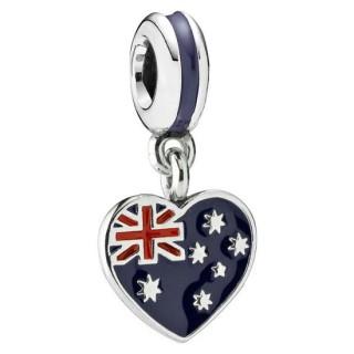 PANDORA Roxo Bandeira Coração australiano Charms