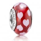 PANDORA Vermelho Sweethearts vidro de Murano Contas