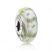 PANDORA Wild Flowers Murano vidro com CZ Contas