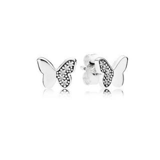 PANDORA borboleta Prata Brincos do parafuso prisioneiro com cúbicos zircônia clara