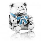 PANDORA É um encanto Boy - Charms Bear in Sterling Prata com Azul Enamel