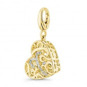 Pandora 14K Dourado Heart-Shaped Tridimensional filigrana Charms