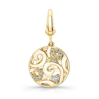 Pandora 14K Dourado Round-Shaped tridimensional filigrana Charms