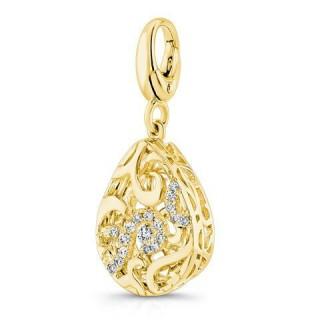 Pandora 14K Dourado Teardrop em forma de Three-Dimensional encantos filigrana Charms