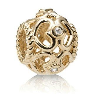 Pandora 14K Open Heart diamante Charms Contas