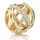 Pandora 14k Galaxy Dourado com 45 Cubic Zirconia espumantes Charms