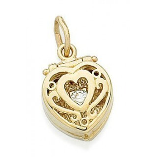 Pandora 14kt Dourado Coração Aneis Box Charms