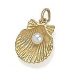 Pandora 14kt Dourado Shell com Charms Pérola