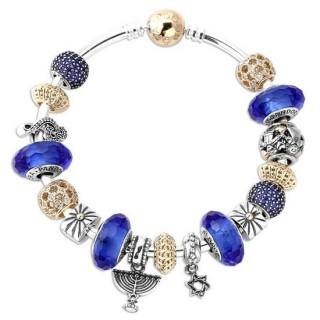 Pandora 14kt Dourado Sterling Prata Cubic Zirconia Hanukkah Menorah Estrela Azul Pulseira