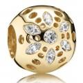 Pandora 14kt Sparkling Bloom com claras Charms de Zircônia cúbica