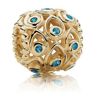 Pandora 14kt mar com Profundo Azul Topázio Tesouros Charms